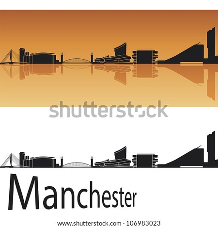 manchester skyline in orange