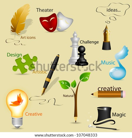 vector set with art icons