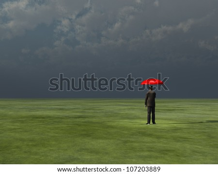 man with red umbrella under