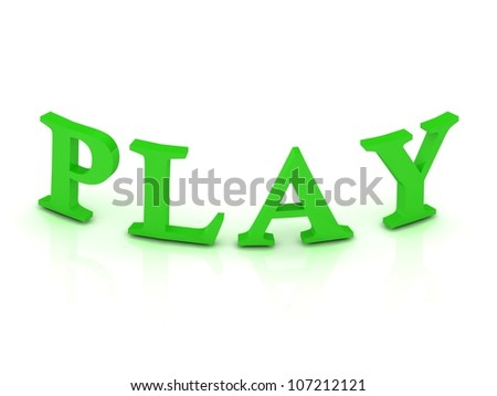 play sign with green letters on