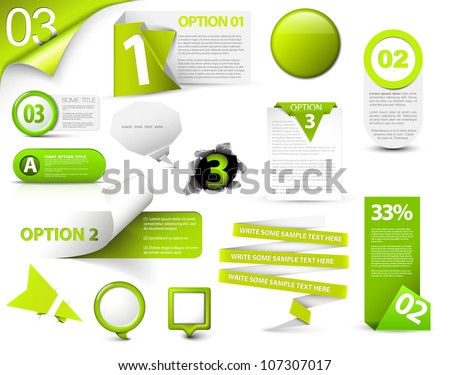 set of green vector progress