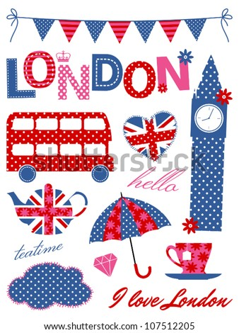 london scrapbook elements in