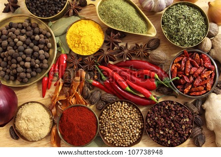 spices and herbs in metal