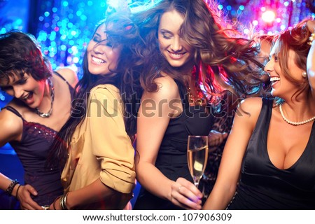 cheerful girls living it up on
