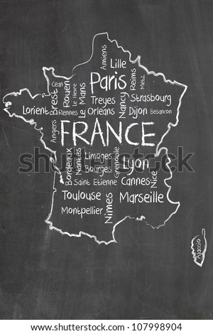 france map and words cloud with