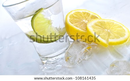 vodka  lime and lemon in glass
