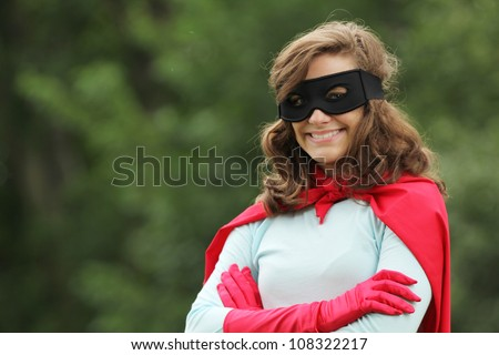 young woman with red super hero