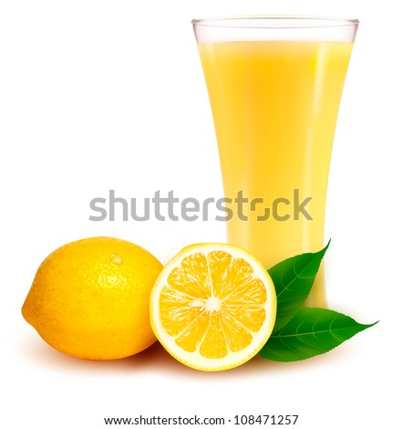 fresh lemon and glass with