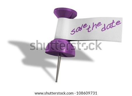 a purple thumbtack with a tape