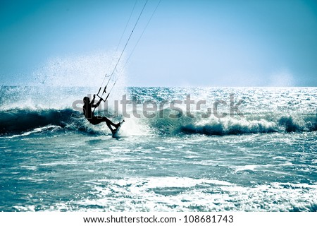 kite surfing in waves splash