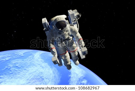 astronaut in outer space in the