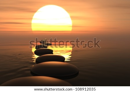 zen stones into the water with