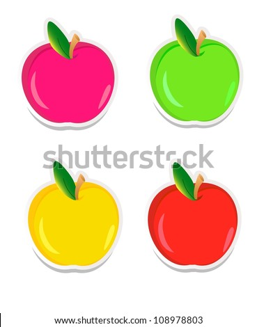 vector colorful apple stickers