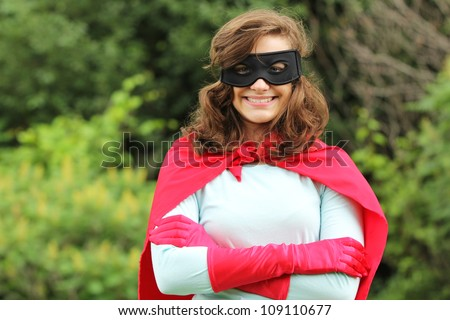 young woman with red super