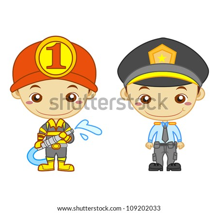 a policeman and a firefighter