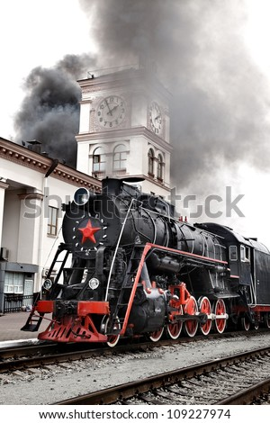old steam train is leaving a
