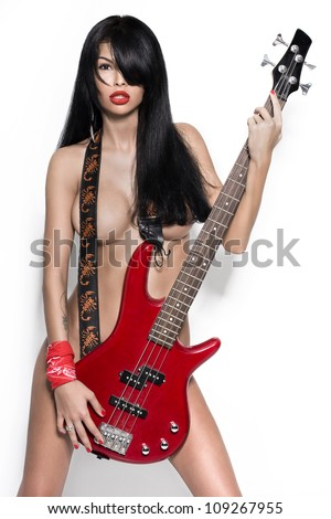 sexy nude girl  with a guitar