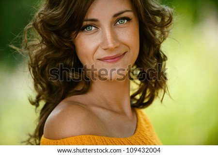 beautiful young woman close up