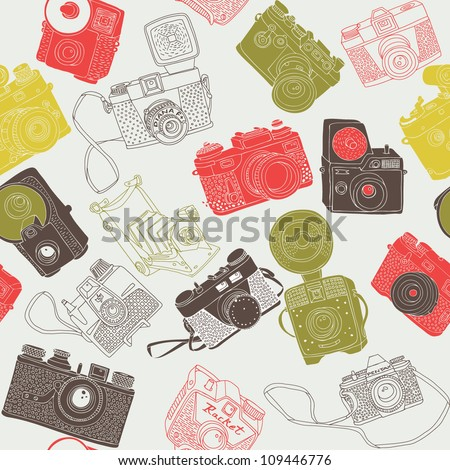 vintage photo cameras seamless
