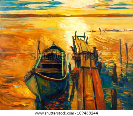 original oil painting of boat
