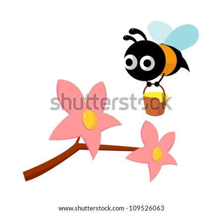 vector icon flower and bee