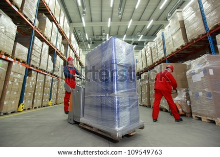 warehousing    two workers in