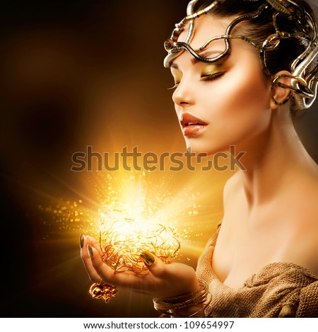 magic girl portrait golden