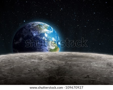 view of the rising earth seen