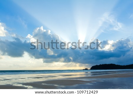 tropical beach sunset sky with
