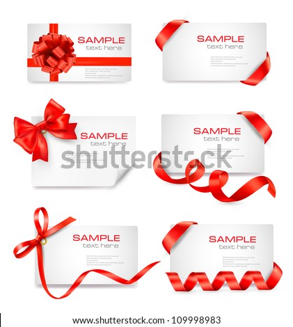 set of card notes with red
