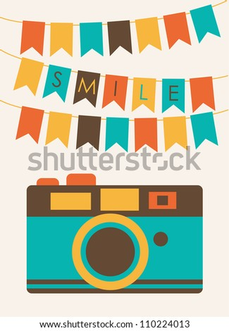 cute card with camera vector