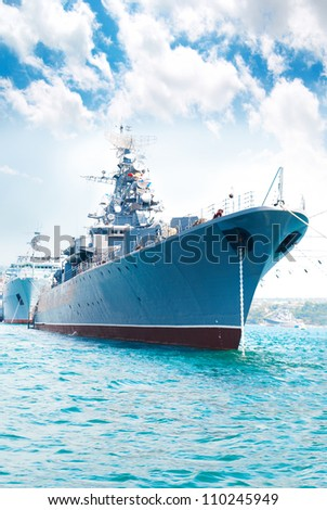 military navy ship in the bay