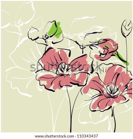 art sketching floral vector