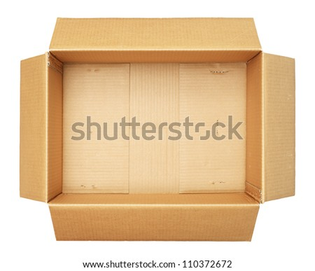 top view of carton box isolated