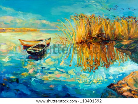 original oil painting of boats
