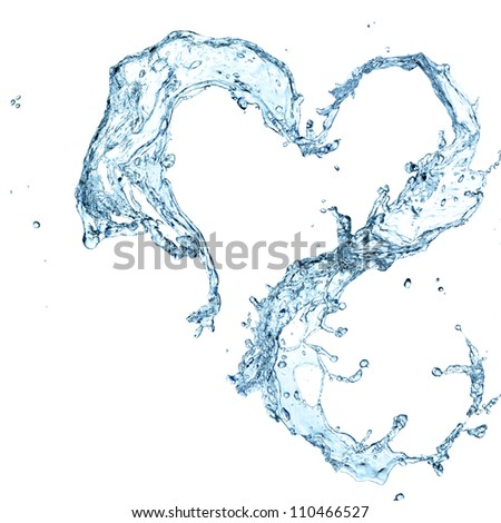 water heart over white