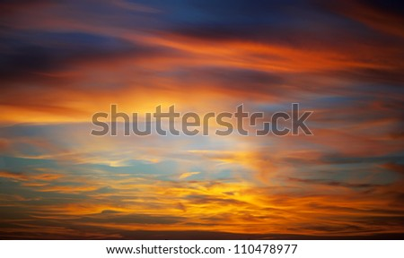 panorama of sunset in a sky