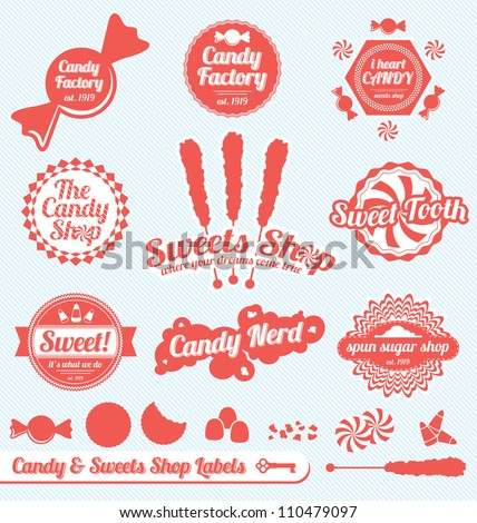 vector set  candy shop labels
