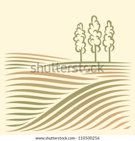 rural landscape with fields and