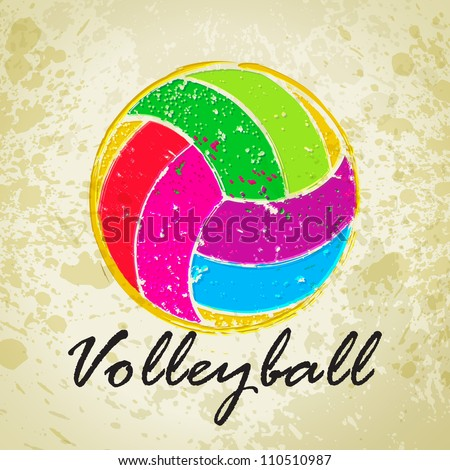 vector grunge volleyball with
