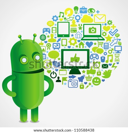 funny green robot with social