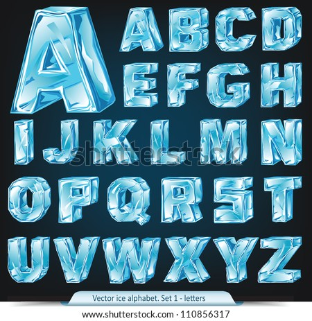 vector ice alphabet set 1