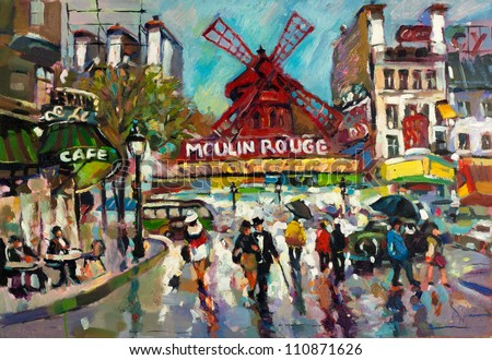 original oil painting of moulin