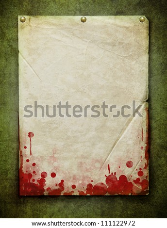 sheet of paper with blood