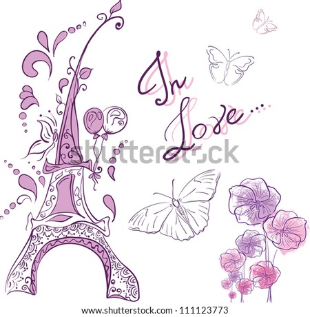 Vector Download » french tender background with eiffel tower