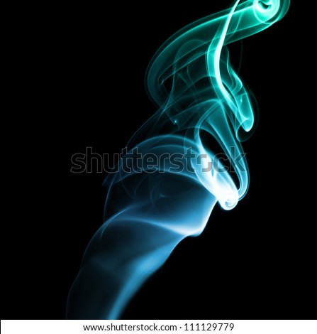 blue green abstract smoke on