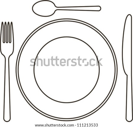 Vector Download » Place setting with plate, knife, spoon and fork