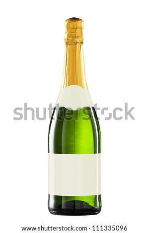 sparkling wine bottle isolated