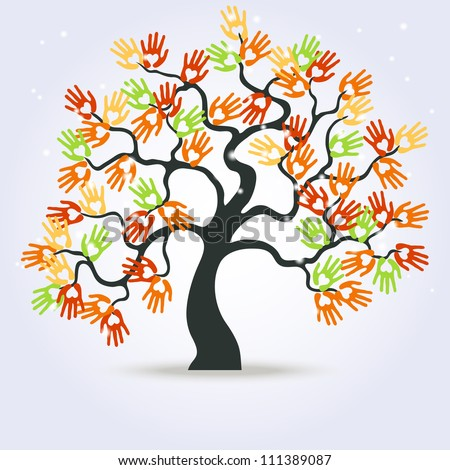 vector mystical tree with hands