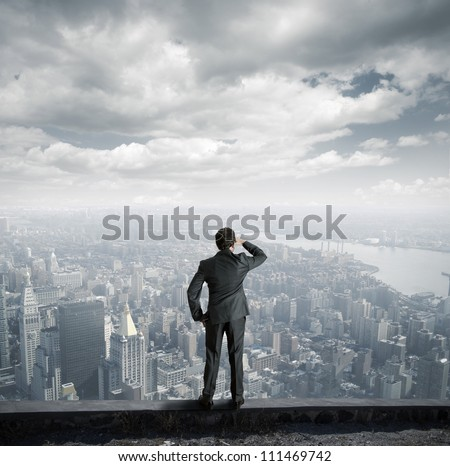 businessman looking to the